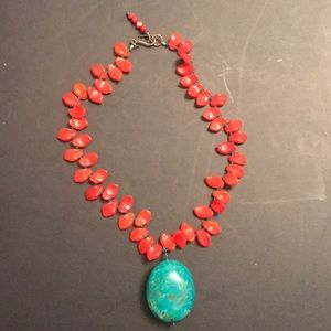 Jewelry - Turquoise pendant  with red coral stone necklace